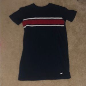 navy, white and red t-shirt dress